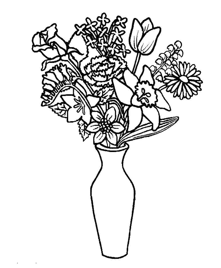 Цветы в вазе Онлайн бесплатные раскраски цветы