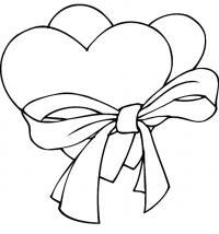 Сердечки в банте Раскраски для девочек бесплатно