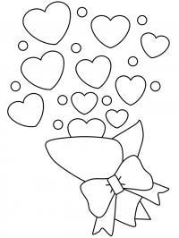 Сердечки с букета Раскраски для девочек бесплатно