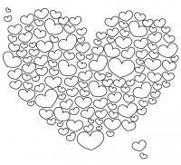 Сердечки образуют большое сердце Раскраски для девочек бесплатно