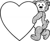 Сердечка с медведем Раскраски для девочек бесплатно