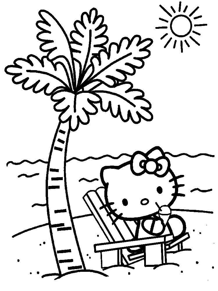 Хелло китти на пляже Раскраски с цветами распечатать бесплатно