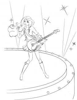 Барби поет с гитарой на танцполле Раскраски с цветами распечатать бесплатно