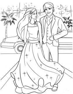Барби и кен стоят на улице с пальмами Раскраски с цветами распечатать бесплатно