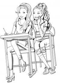 Девочки сидят за партой Раскраски с цветами распечатать бесплатно