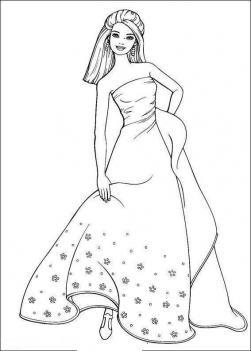 Барби принцесса Раскраски с цветами распечатать бесплатно