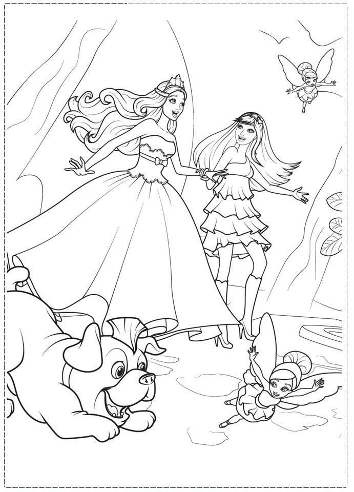 Барби принцесса Барби фея собака Картинки раскраски цветы