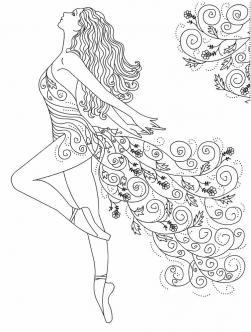 Девушка Раскраски с цветами распечатать бесплатно