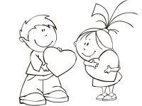 Сердечки мальчик и девочка Раскраски с цветами распечатать бесплатно