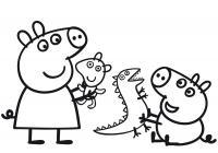 Свинка пепа с братом Раскраски с цветами распечатать бесплатно