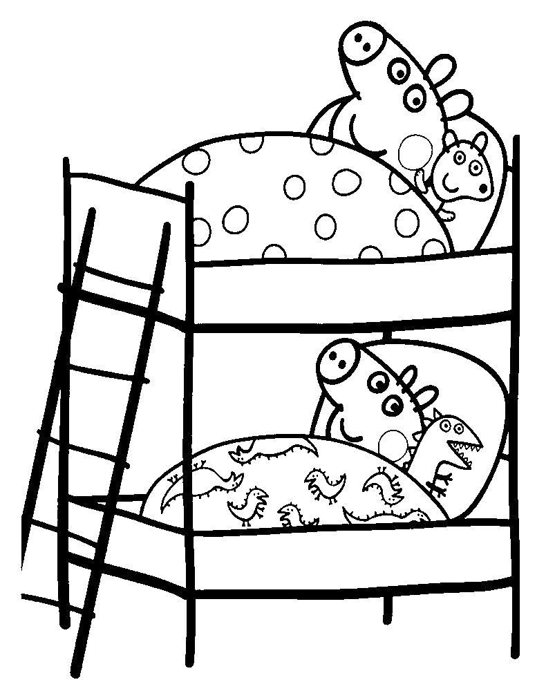 Свинка пепа спит Раскраски с цветами распечатать бесплатно