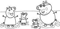 Свинка пепа с родителями Раскраски с цветами распечатать бесплатно