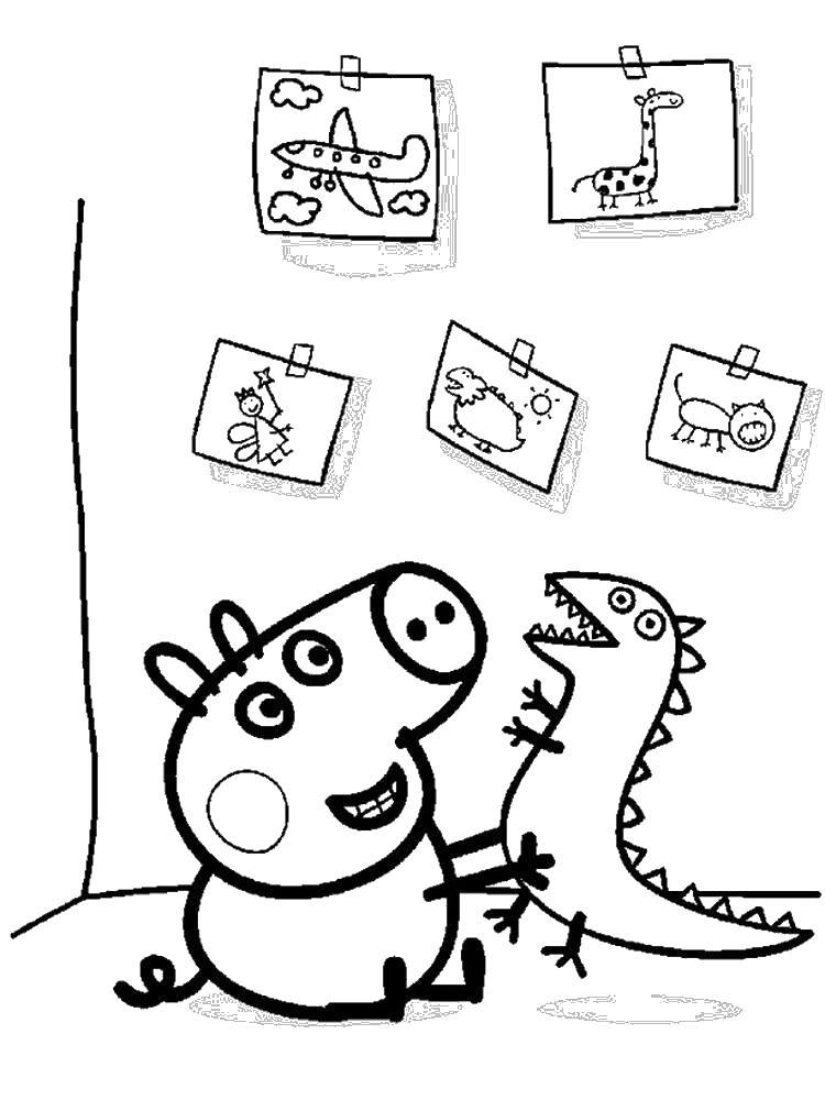 Рисунки свинки пепы Раскраски с цветами распечатать бесплатно