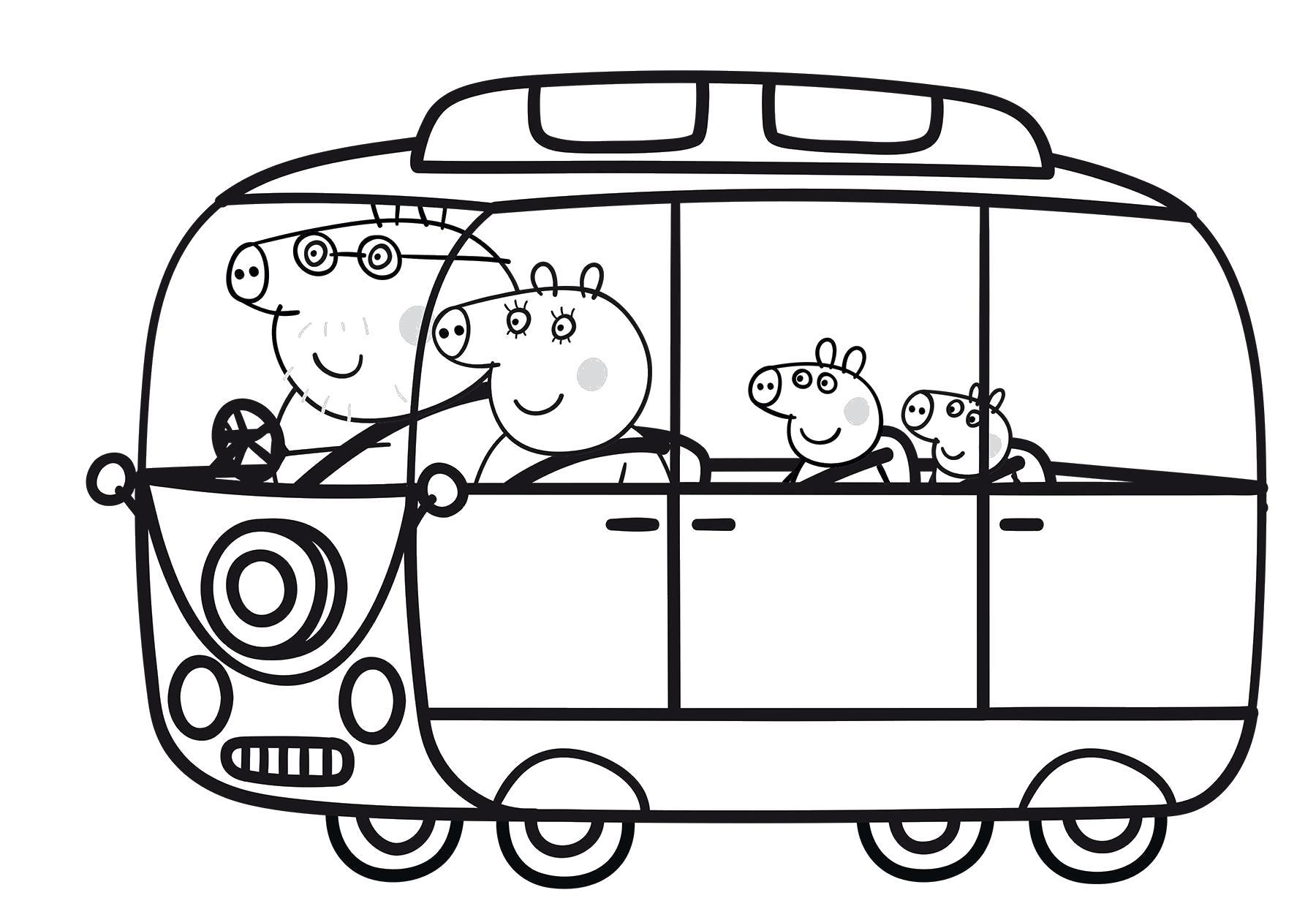 Свинка пепа в автобусе Раскраски с цветами распечатать бесплатно