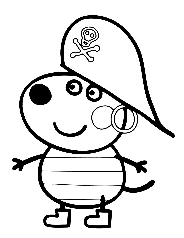 Свинка пепа пират Раскраски с цветами распечатать бесплатно