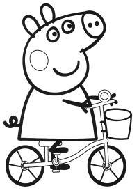 Свинка пепа на велосипеде Раскраски с цветами распечатать бесплатно