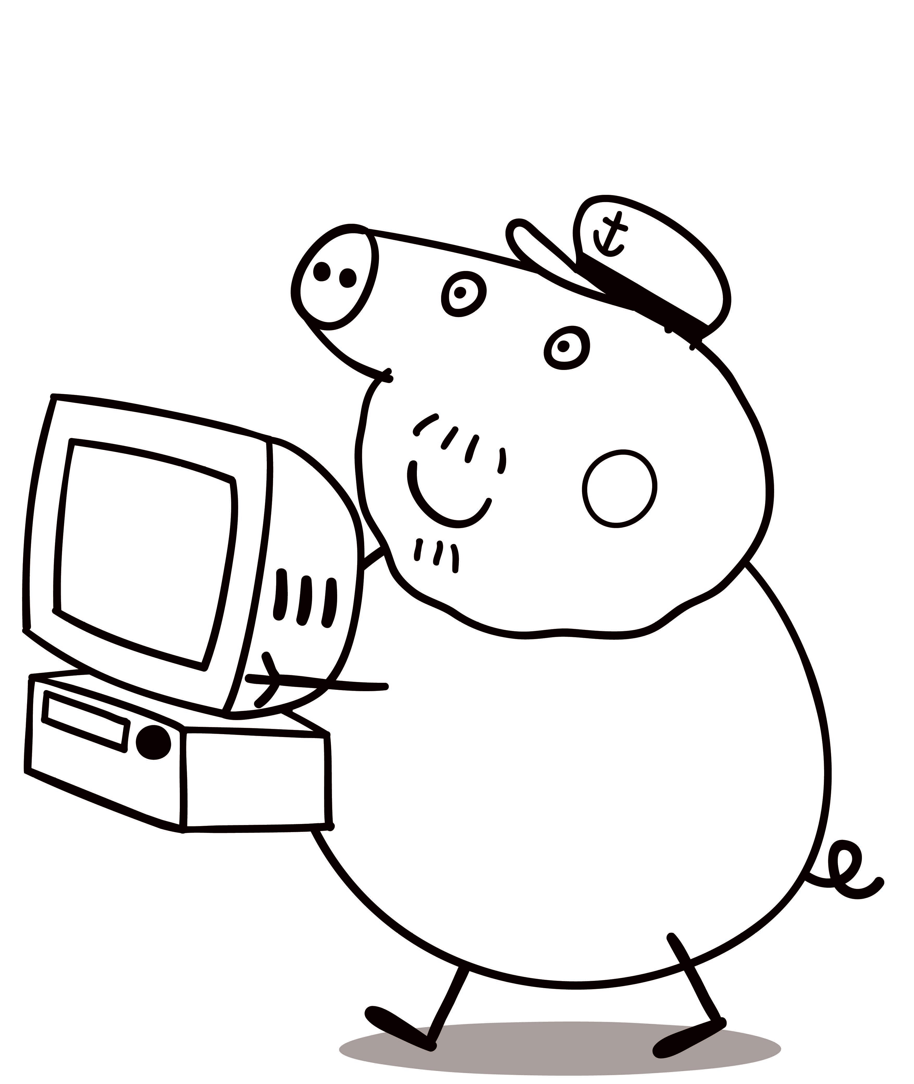 Свинка моряк с телевизором Раскраски с цветами распечатать бесплатно