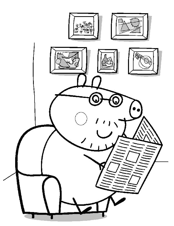 Свинка читает газету Скачать новые раскраски цветы