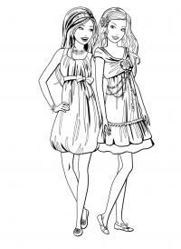Девочки в любимых платьях Раскраски с цветами распечатать бесплатно