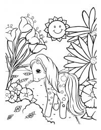 Лошадка в лесу Раскраски с цветами распечатать бесплатно