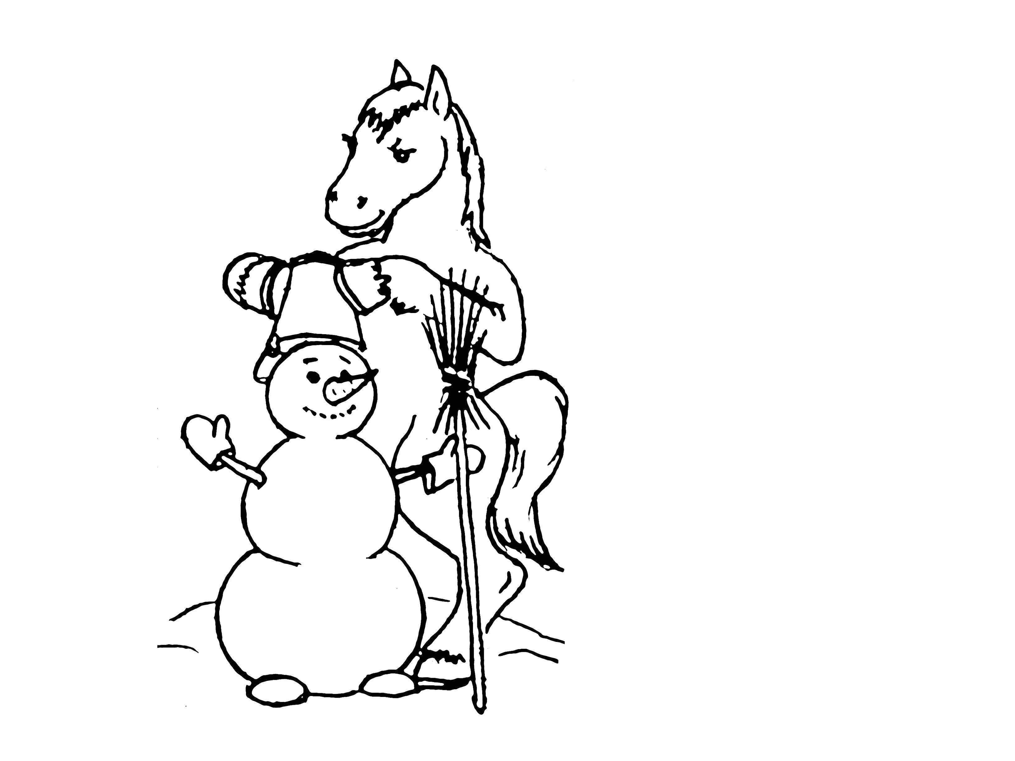 Лошадка делает снеговик Раскраски с цветами распечатать бесплатно