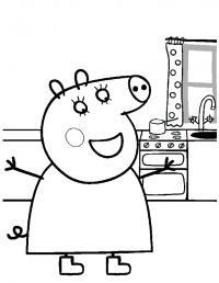 Свинка пепа на кухне Скачать новые раскраски цветы