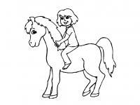 Лошадка с девочкой Раскраски с цветами распечатать бесплатно
