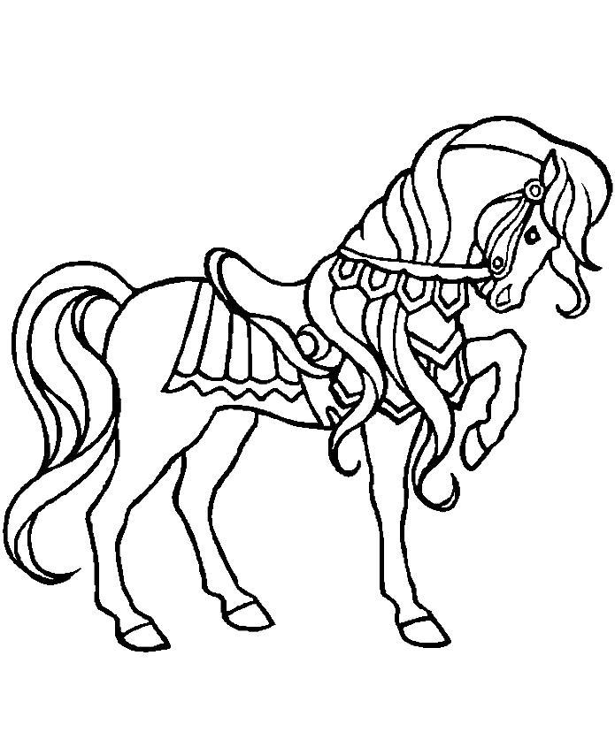 Лошадка рыцарь Раскраски с цветами распечатать бесплатно