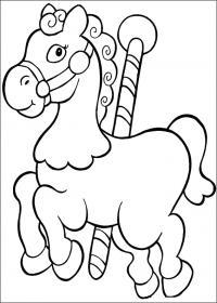 Лошадка с палкой Раскраски с цветами распечатать бесплатно
