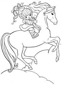 Лошадь с девочкой Раскраски с цветами распечатать бесплатно