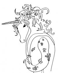 Лошадка с бабочками Распечатываем раскраски цветы бесплатно
