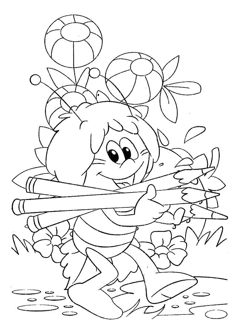 Пчелка собирает карандаши Раскраски с цветами распечатать бесплатно