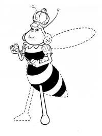 Пчелка королева, дорисуй по точкам Раскраски красивые цветы