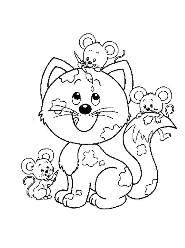 Макияж для кошки от мышат Раскраски цветы хорошего качества