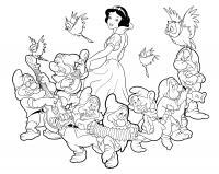 Белоснежка и гномы поют песню Раскраски с цветами распечатать бесплатно