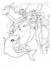 Подружки русалки и дельфин Картинки раскраски цветы