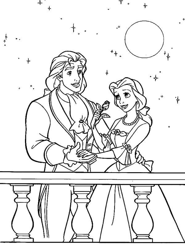 Красавица и принц под луной Раскраски с цветами распечатать бесплатно