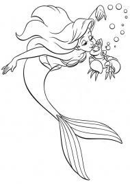 Ариель русалочка целует краба Картинки раскраски цветы