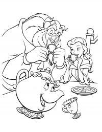 Красавица и чудовище за столом пьют чай Раскраски детские с цветами