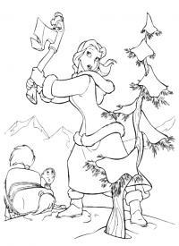 Красавица рубит дрову Раскраски детские с цветами