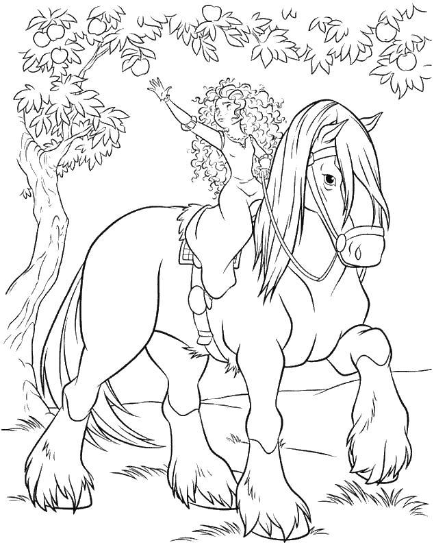 Принцесса срывает яблоко Раскраски с цветами распечатать бесплатно