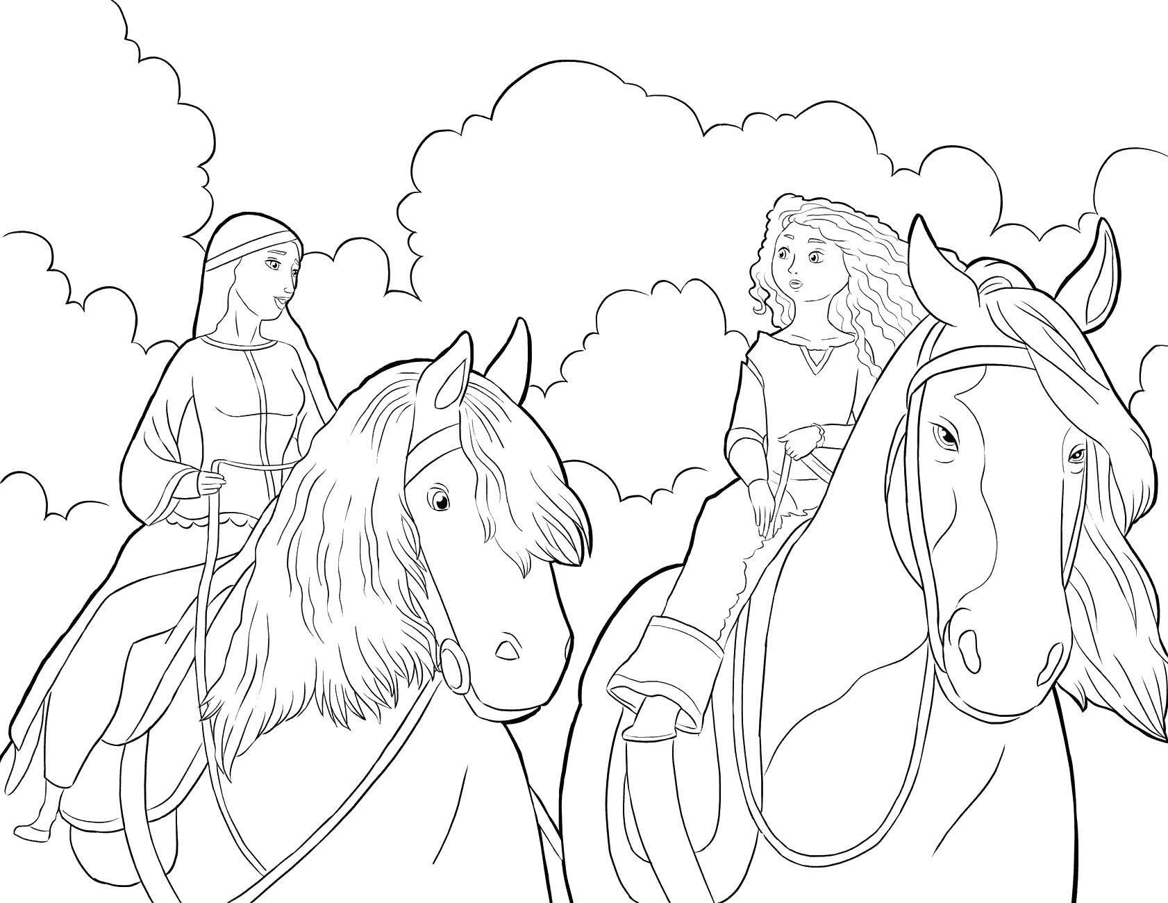 Королева и принцесса в пути Раскраски с цветами распечатать бесплатно