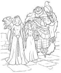Мерида с родителями Раскраски с цветами распечатать бесплатно