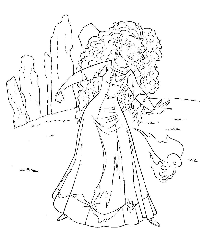 Мерида обладает волшебством Раскраски для девочек скачать