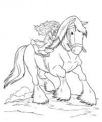 Мерида с конем Раскраски с цветами распечатать бесплатно