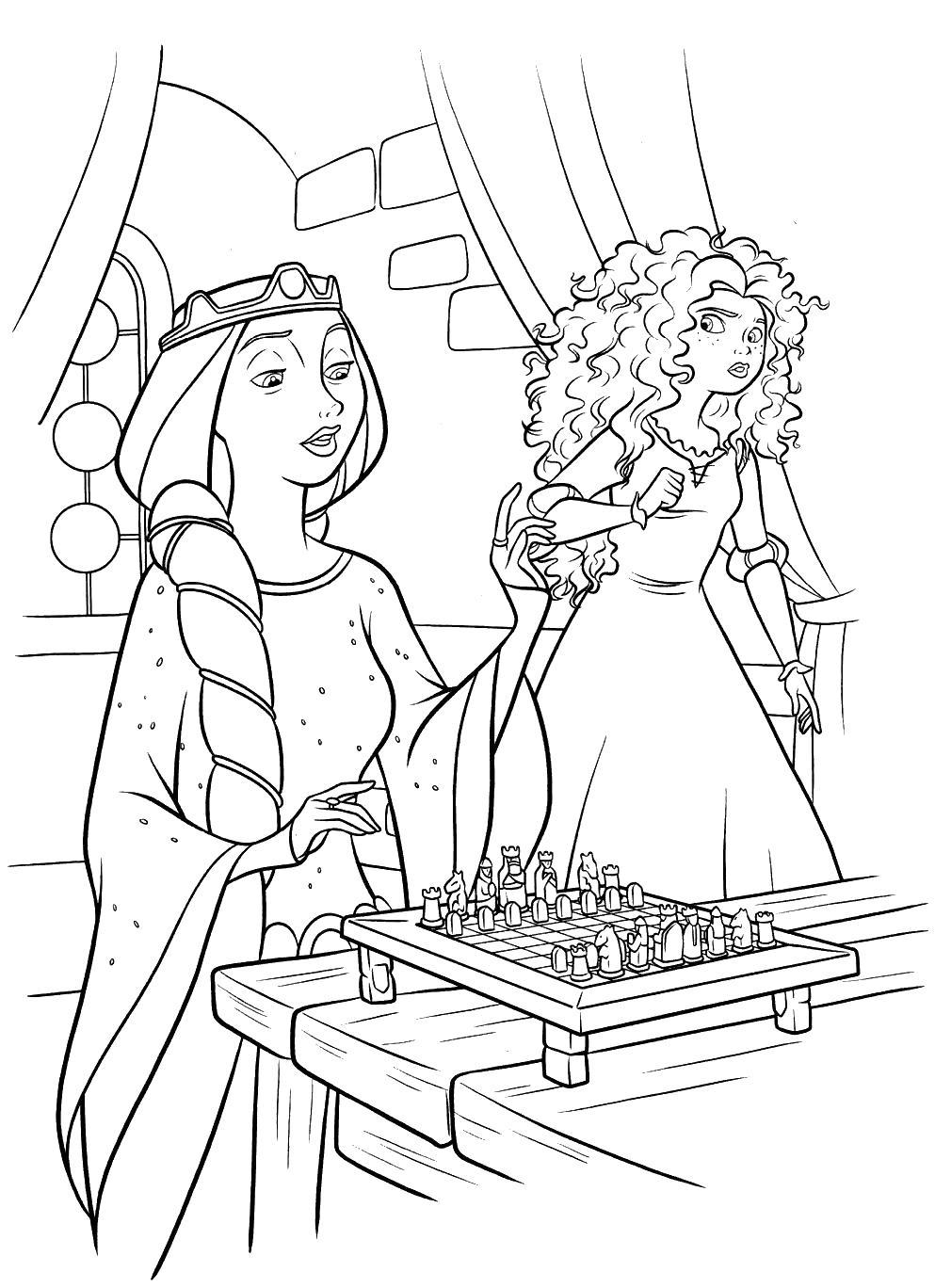 Королева играет в шахматы Раскраски с цветами распечатать бесплатно