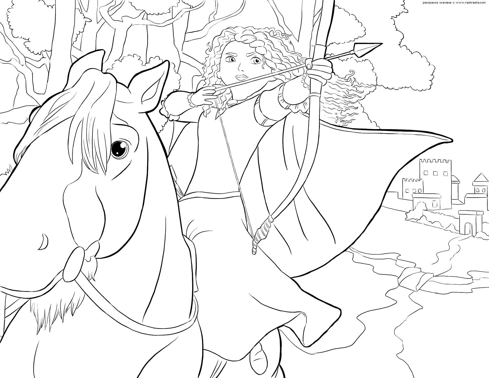 Принцесса стреляет с лука Раскраски для девочек скачать