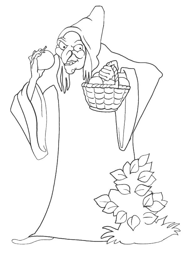 Ведьма собирает яблоко Раскраски для девочек скачать
