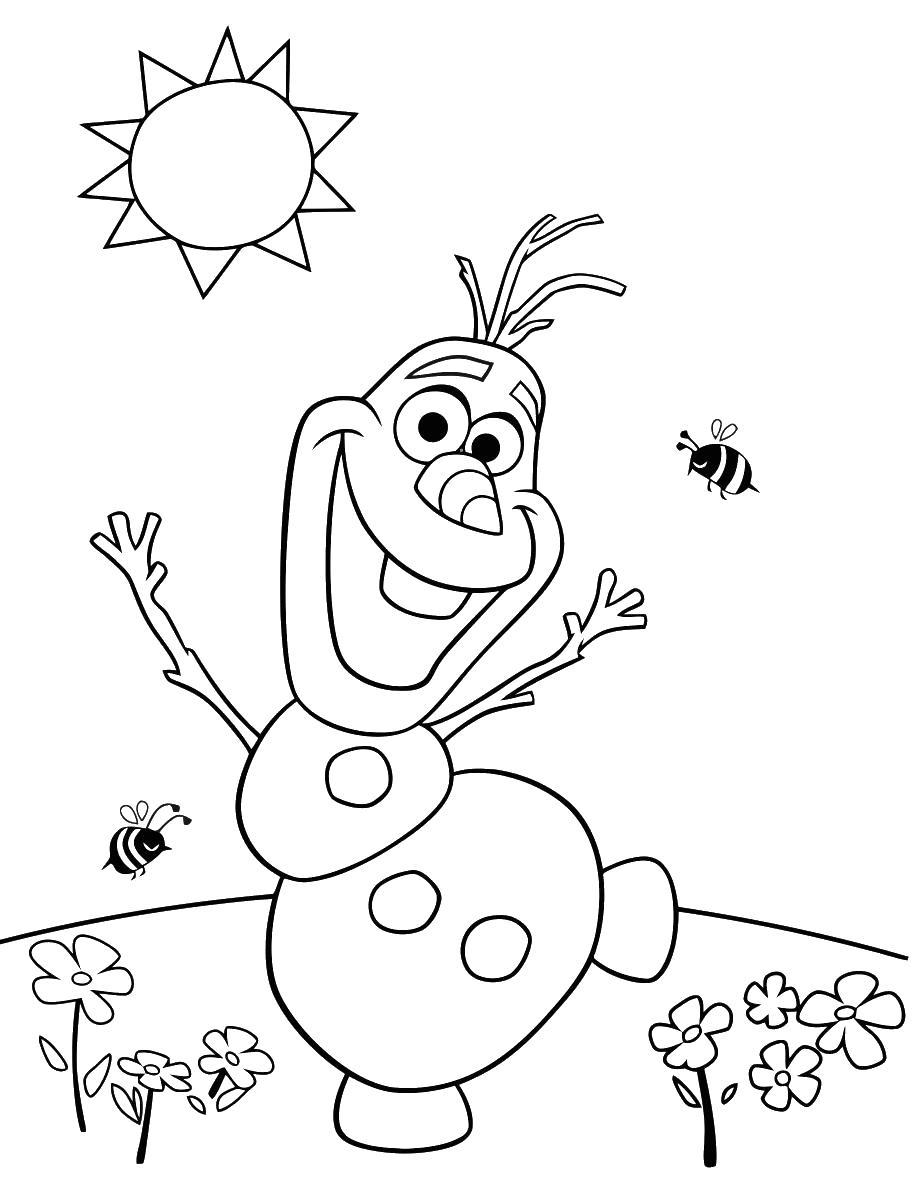 Снеговик Раскраски с цветами распечатать бесплатно