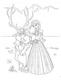 Принцесса с оленем Раскраски с цветами распечатать бесплатно